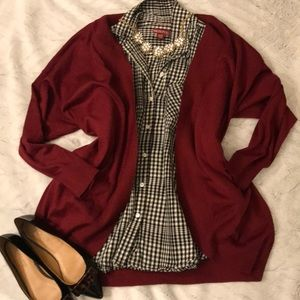 Merona black and white checked multi button down